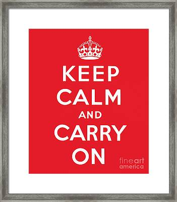 Keep Calm And Carry On Framed Print by English School