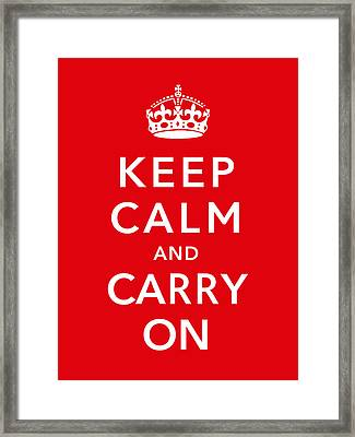 Keep Calm And Carry On Framed Print by War Is Hell Store