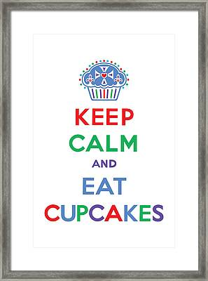 Keep Calm And Eat Cupcakes - Primary Framed Print by Andi Bird