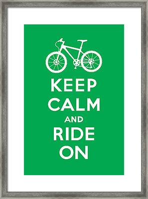 Keep Calm And Ride On - Mountain Bike - Green Framed Print by Andi Bird