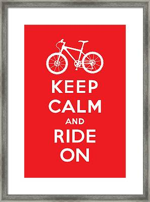 Keep Calm And Ride On - Mountain Bike - Red Framed Print by Andi Bird