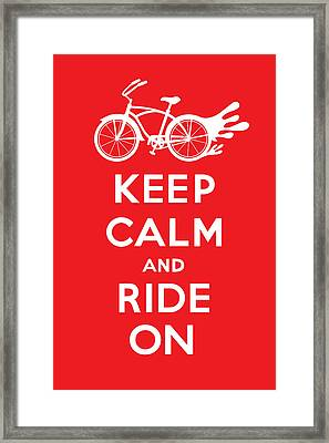 Keep Calm And Ride On Cruiser - Red Framed Print by Andi Bird