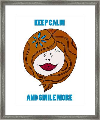Keep Calm And Smile More Framed Print by Frank Tschakert