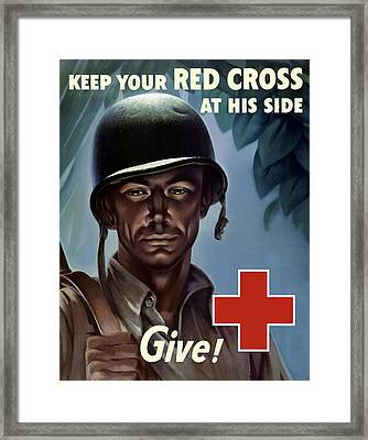 Keep Your Red Cross At His Side Framed Print by War Is Hell Store