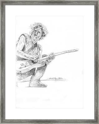 Keith Richards  Fender Telecaster Framed Print by David Lloyd Glover