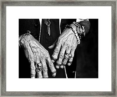 Keith Richards Hands Rolling Stones Black And White Framed Print by Tony Rubino