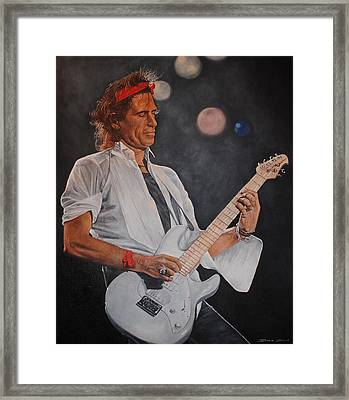 Keith Richards Live Framed Print by David Dunne