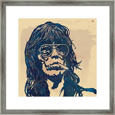 Keith Richards Pop Stylised Art Sketch Poster Framed Print by Kim Wang