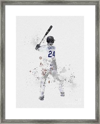 Ken Griffey Jr Framed Print by Rebecca Jenkins