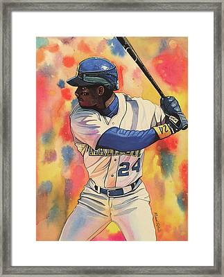 Ken Griffey Jr. Seattle Mariners Framed Print by Michael Pattison
