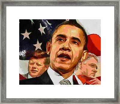 Kennedy-clinton-obama Framed Print by Anthony Caruso