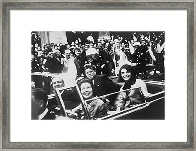 Kennedy Dallas Motorcade Framed Print by Victor Hugo King