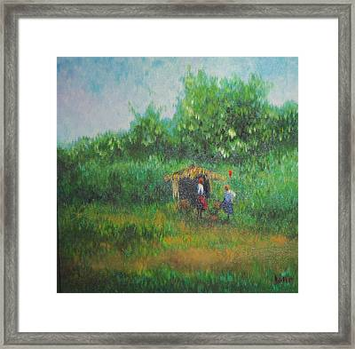 Kenyan Bus Stop  Framed Print by Lore Rossi