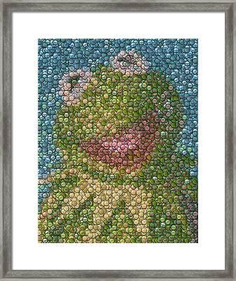 Kermit Mt. Dew Bottle Cap Mosaic Framed Print by Paul Van Scott