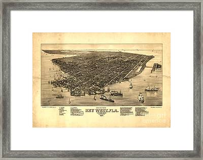Key West Florida Vintage Map 1884 Framed Print by John Stephens