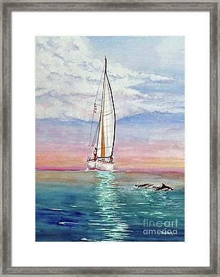 Key West Sailboat Framed Print by Joe DeKleva