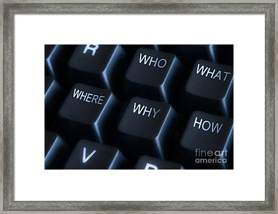 Keyboard With Question Labels Framed Print by Blink Images