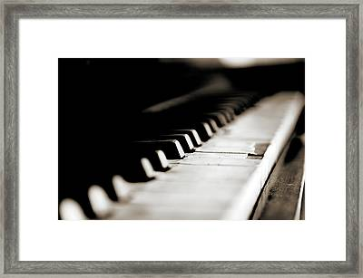 Keys Of Old Piano Framed Print by Javier Sánchez