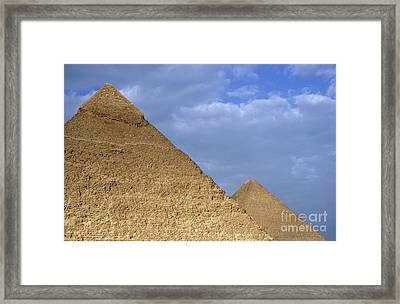 Khephren Pyramid And The Great Pyramid Framed Print by Sami Sarkis