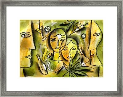 Kids And Drugs Framed Print by Leon Zernitsky