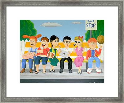 Kids At The Bus Stop Framed Print by Winton Bochanowicz