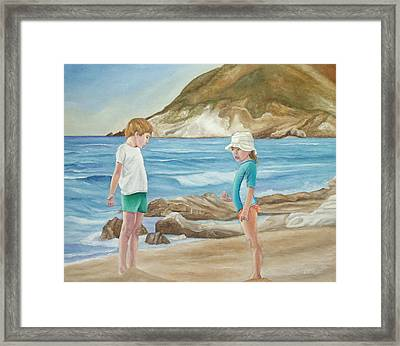 Kids Collecting Marine Shells Framed Print by Angeles M Pomata