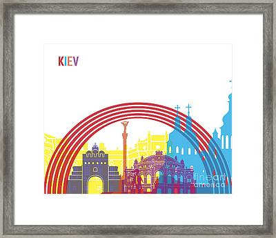 Kiev Skyline Pop Framed Print by Pablo Romero