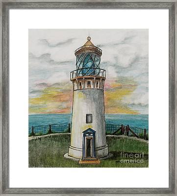 Kilauea Lighthouse Framed Print by Linda Simon