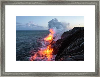 Kilauea Volcano Lava Flow Sea Entry 3- The Big Island Hawaii Framed Print by Brian Harig