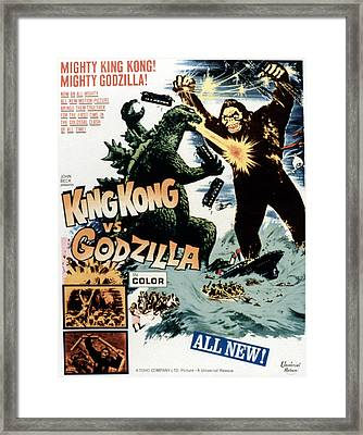 King Kong Vs. Godzilla, Poster Art Framed Print by Everett