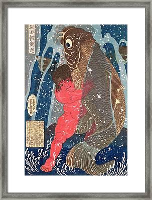 Kintoki Swims Up The Waterfall Framed Print by Kuniyoshi