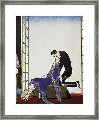Kiss Framed Print by Georges Barbier