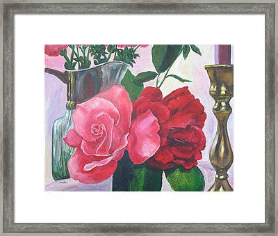 Kissing Roses Framed Print by Judy Loper