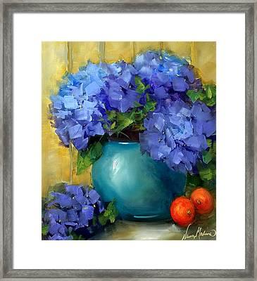 Kitchen Nook Blue Hydrangeas Framed Print by Nancy Medina