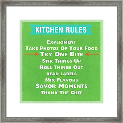 Kitchen Rules Framed Print by Linda Woods