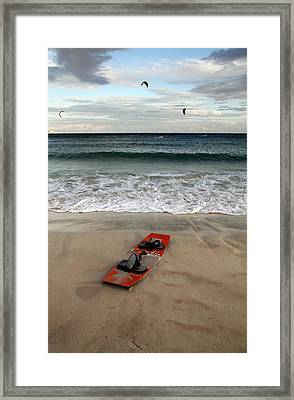 Kitesurfing Framed Print by Stelios Kleanthous