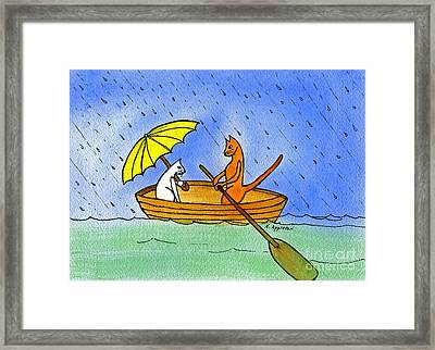 Kitties In A Boat Framed Print by Norma Appleton