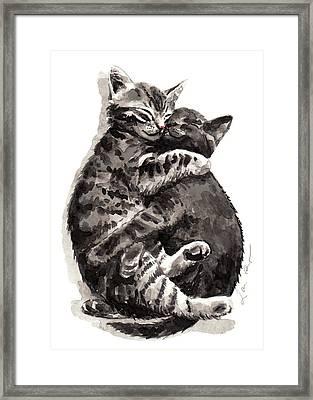Kitty Hugs Framed Print by Laura Row