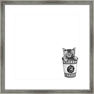 Kitty In A Coffee Cup Framed Print by Karl Addison