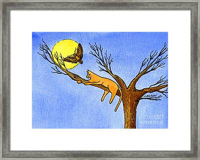 Kitty Moth And Moonlight Framed Print by Norma Appleton