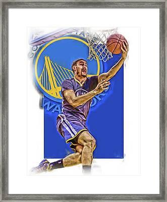 Klay Thompson Golden State Warriors Oil Art Framed Print by Joe Hamilton