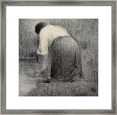 Kneeling Woman Framed Print by Georges Pierre Seurat
