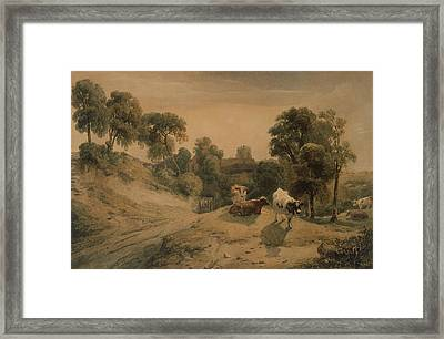 Kneeton On The Hill Framed Print by Peter de Wint