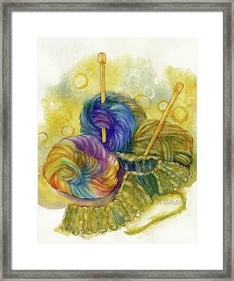 Knitting Framed Print by Peggy Wilson