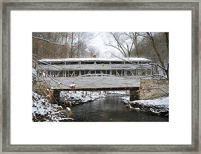 Knox Covered Bridge In The Snow Framed Print by Bill Cannon