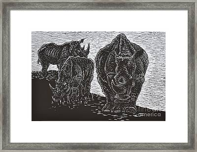 Knp White Rhinos Framed Print by Sarojini Muller