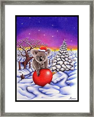 Koala On Ball Framed Print by Remrov Vormer