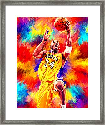 Kobe Bryant Basketball Art Portrait Painting Framed Print by Andres Ramos