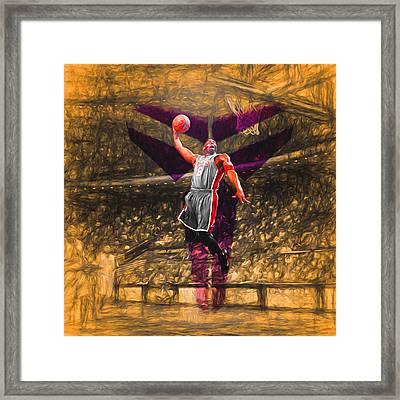 Kobe Bryant Black Mamba Digital Painting Framed Print by David Haskett