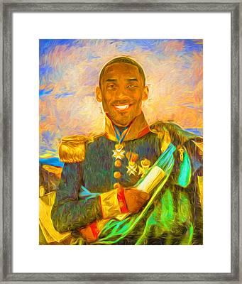 Kobe Bryant Floor General Digital Painting La Lakers Framed Print by David Haskett